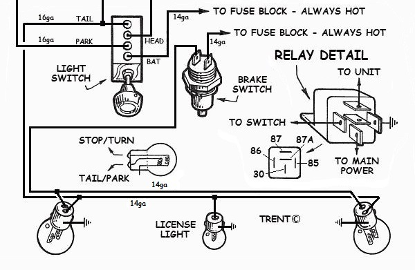how to wire up lights in your hotrod rh how to build hotrods com street rod power window wiring diagram street rod wiring diagram with gm column